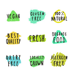 fresh vegan natural food and drink badges vector image