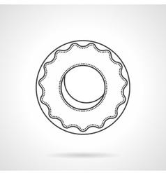 Glazed donut flat line icon vector image
