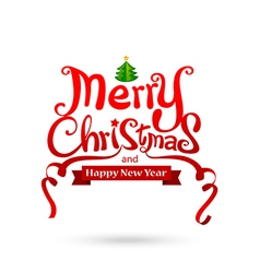 Merry Christmas text free hand design isolated on vector image vector image
