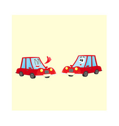 two red car characters one showing thumb up vector image