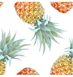 Watercolor tropical pineapple pattern vector