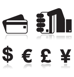 Payment methods icons set - credit card by cash vector image vector image