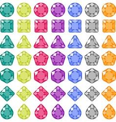 Precious gems Flat icons set vector image vector image