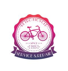Retro bicycle service and repair vintage logo vector