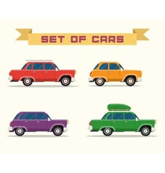 set with vintage cars flat style vector image