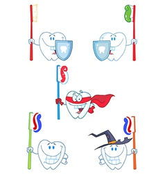 Tooth cartoon characters-collection vector