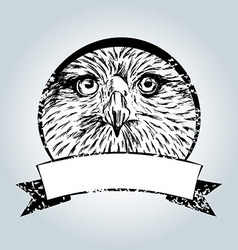 Vintage label with eagle face vector