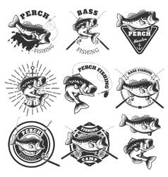 Bass fishing labels Perch fish Emblems templates vector image vector image