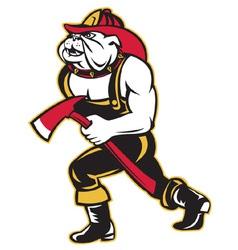 bulldog fireman with axe vector image