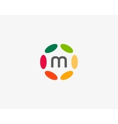 Color letter m logo icon design Hub frame vector image vector image