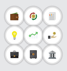 Flat icon finance set of document bubl growth vector