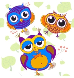owl bird pink tree animal leaf drawing color vector image