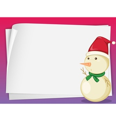 paper sheets and snowman vector image