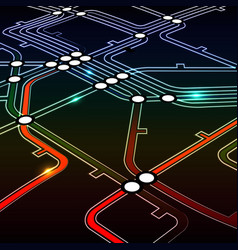 Perspective background of metro scheme vector image