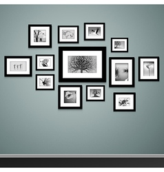 Photo frames on wall vector image