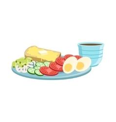 Toast Egg Vegetables And Coffee Breakfast Food vector image