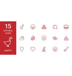 15 happy icons vector