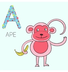 Alphabet letter A ape children vector