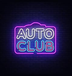 auto club neon sign car service design vector image