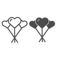 balloons like heart line and glyph icon love vector image