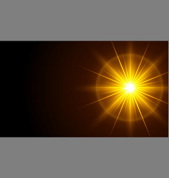 Black background with glowing light rays effect vector