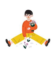 Boy picking flowers kids spring or summer outdoor vector