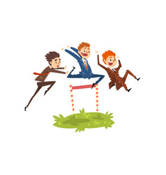 businessmen jumping over hurdles competition in vector image