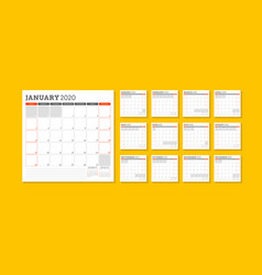 calendar planner template for 2020 year week vector image