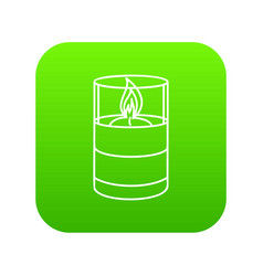 Candle glass icon green vector