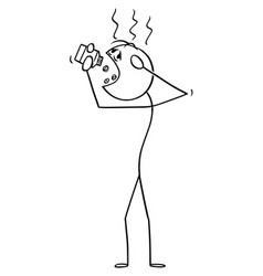 Cartoon man suffering headache or head pain vector