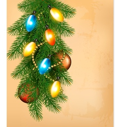 Christmas background with colorful garland baubles vector