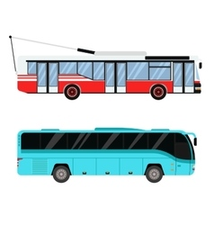 City road bus and trolleybus transport vector