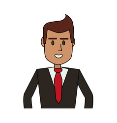 Color image cartoon half body executive man vector