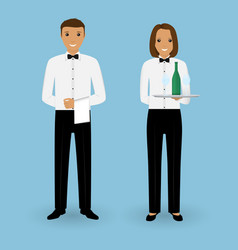 Couple of male waiter and female waitress with vector