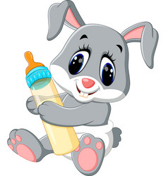 Cute baby rabbit cartoon vector