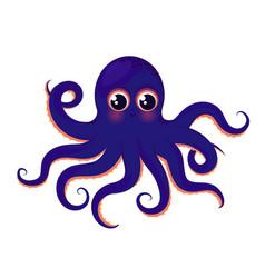 cute blue octopus animal of the ocean vector image vector image