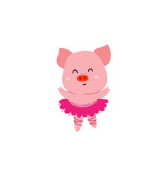 cute little dancer pig character vector image