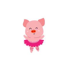 Cute little dancer pig character vector