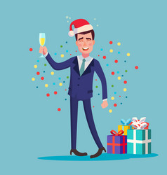 drunk man alcohol corporate christmas vector image