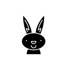 easter bunny black icon sign on isolated vector image