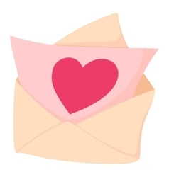 Envelope with pink valentine heart icon vector