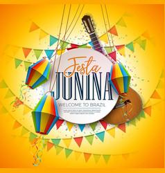 Festa junina with acoustic guitar vector