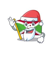Flag burundi in santa cartoon character design vector