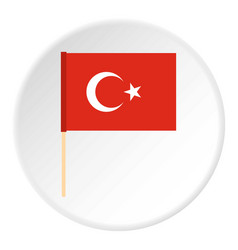 Flag of turkey icon circle vector