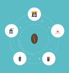 Flat icons cup latte arabica bean and other vector