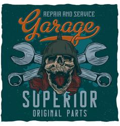 Garage masters t-shirt label design vector