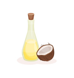 glass bottle of oil and half of ripe coconut vector image