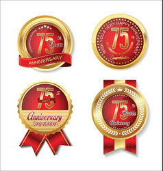 Golden badge anniversary collection 75 years 2 vector