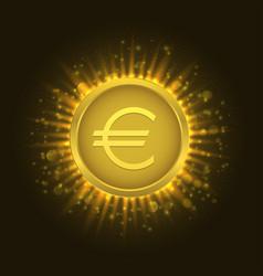 golden euro coin3 vector image