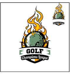 Golf ball flame badge vector